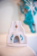 Southwest Fireplace White, Turquoise and Copper with box of Piñon