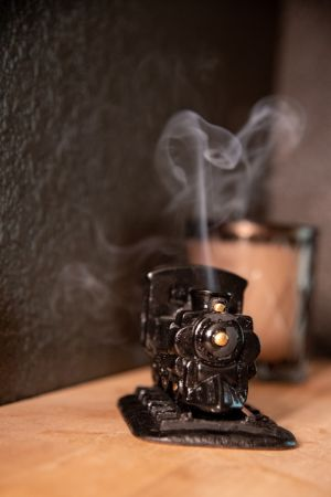 Black Steam Engine: with Pinon natural wood incense.