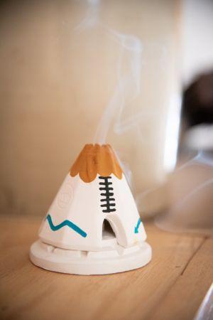 White Teepee Burner - Turquoise & Buckskin - and 20 Count Box of Piñon Incense
